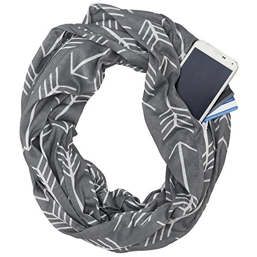 Womens Arrow Patterned Infinity Scarf with Zipper Pocket, Summer Fashion Scarves (Grey)
