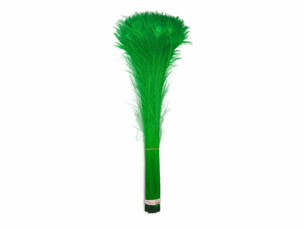 100 Pieces - 30-35'' Kelly Green Bleached and Dyed Peacock Tail Eye (bulk) by Moonlight Feather