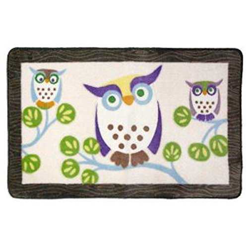 Allure Home Creations Awesome Owls Acrylic Printed Rug (Owl Bath Accessories)