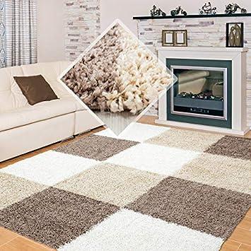Carpet 1001 Hochflor Langflor Wohnzimmer Shaggy Teppich kariert Braun Weiss  Beige - 200x290 cm