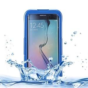 IP PVC 8 x silicona Transparent Universal Waterproof Protective Case Cover, Lanyard Funda para Samsung Galaxy S6 Edge/G928 (Dark Blue)