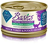 Blue Basics Limited Ingredient Diet Adult Indoor Grain Free Turkey & Potato Wet Cat Food 3-Oz (Pack Of 24)