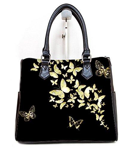 (Fashion Ladies Girl Barrel Type Handbags Top-Handle Bags Butterfly Pattern Print)