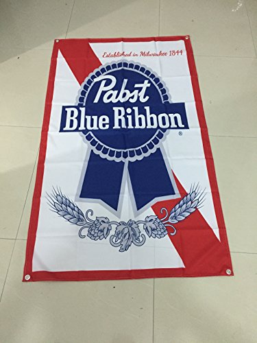 Fain's World Pabst Blue Ribbon Flag - 5 ft Tall X 3 ft Wide - Vertical