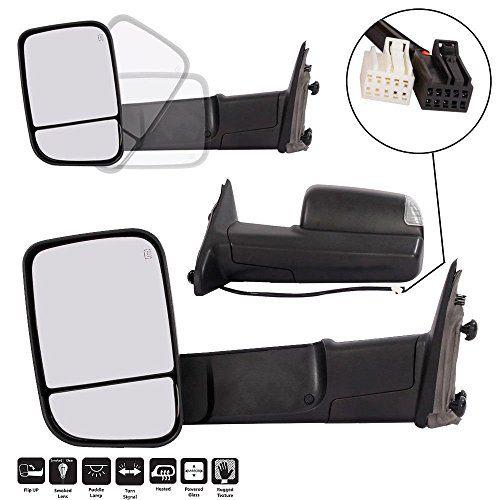 for 2009-2012 Dodge Ram 1500 2500 3500 Pickup Tow Mirrors Power Heated Led Turn Signal Light with Puddle Light Manual Side View Mirrors Left Right Pair Set (Dodge Dual Mirror)