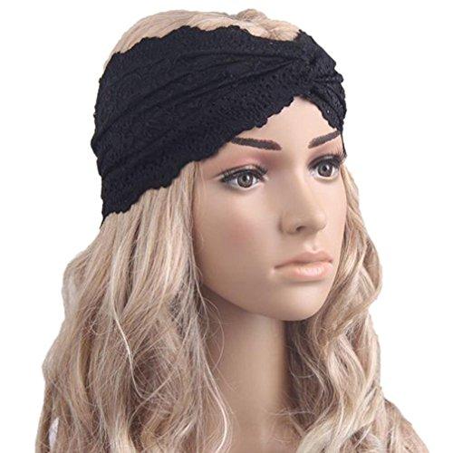 Sunnywill Mode Frauen Kopfbedeckung Twist Sport Yoga Spitze Stirnband Turban Kopf Schal Verpackung für Mädchen Damen (Schwarz)