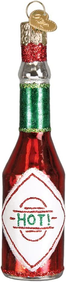 Old World Christmas Glass Blown Ornament with S-Hook and Gift Box, Food Collection (Hot Sauce)