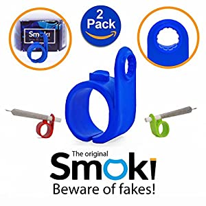 Smoki Roll Holder Ring 2 Pack   Flexible & Comfy Silicone, Ergonomic Design, Heat & Shock Proof Hands Free Rings   Protect Your Hands, Prevent Yellow Stains, Minimize Smell & Enjoy (Black&Black)