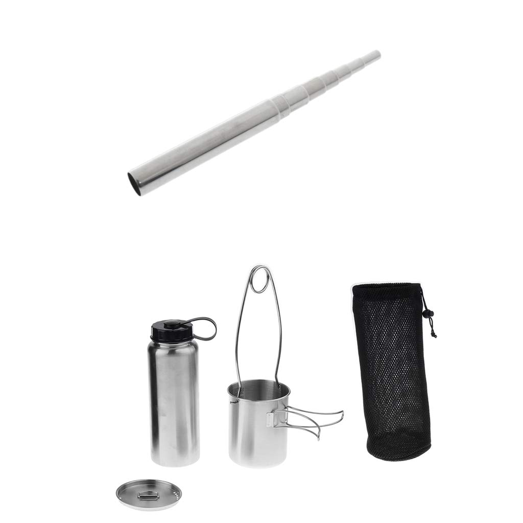 Prettyia Outdoor Telescopic Pocket Bellow + Stainless Water Bottle Cup Pot Kettle Mouth Spreader Hanging Hook
