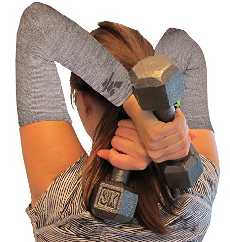 Compression Arm Sleeves: Winter Grey Arm Compression Sleeve, use as arm warmer or base layer to protect skin, relieve mild pain and make arms feel better. Men / Women