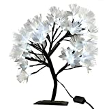 MHOLFB LED Cherry Blossom Tree Light Lamp Artificial Branches Fiber Optic Flowerers Desk Bonsai lamp Decoration for Home Indoor Festival Party Wedding Christmas 0.4M/15.75 Inch 40 Bulbs (White)