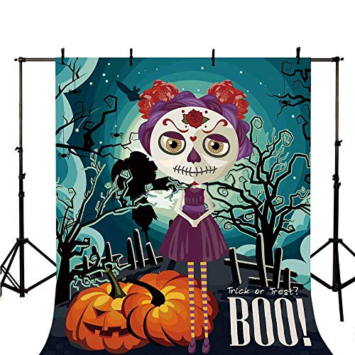 Halloween Stylish Backdrop,Cartoon Girl with Sugar Skull Makeup Retro Seasonal Artwork Swirled Trees Boo Decorative for Photography,98.4