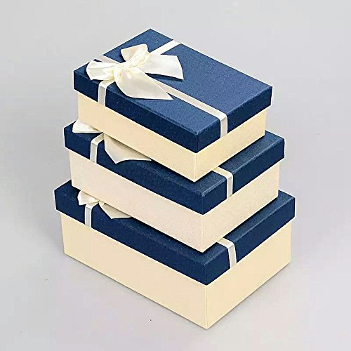 OrangeABC a Nested Set of 3 Gift Boxes with Ribbon - Perfect Box Kits for Birthday, Wedding & Christmas (Blue 1)