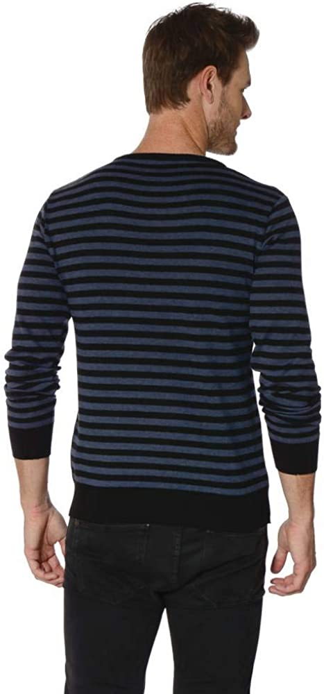 Mens Sweater Long Sleeve Premium Wool Striped Knitted Pullover Sweater Blue//Black