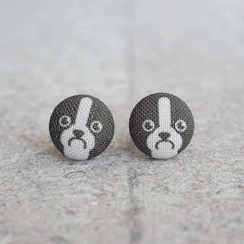 Boston Terrier Fabric Button Earrings