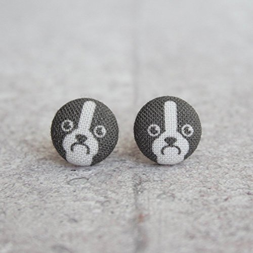 Boston Terrier Fabric Button Earrings (Terrier Button)