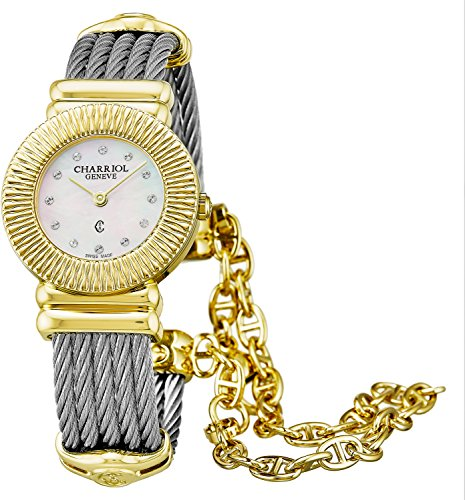 Charriol St-Tropez Art Deco Womens Plated Yellow Gold Watch - 24mm Analog Mother of Pearl Face Stainless Steel Swiss Luxury Dress Watch For Women 028IY.540.326 ()