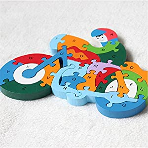 DOUYYE 26 Pcs Wooden Letters and Numbers Jigsaw Puzzles,Interactive Educational Children Learning Toys for Age 3 4 5 Years Old and Up Kid Baby Preschool Toddler Boy Girl, Birthday Gift ( Motorcycle)