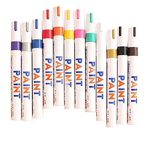 12 Pcs Farbe wasserdicht Permanent Öl Basis Kunst Draw Paint Marker Pen Signature Schreibset