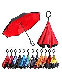 bagail doble capa invertida Sombrillas Reverse plegable paraguas resistente al viento Protección UV Big Mango Recto paraguas para lluvia para exterior (con forma de coches)