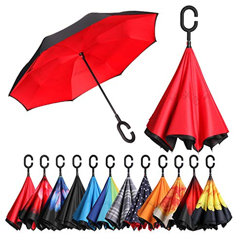 BAGAIL Double Layer Inverted Umbrellas Reverse Folding Umbrella Windproof UV Protection Big Straight Umbrella for Car Rain Outdoor with C-Shaped Handle(Red)