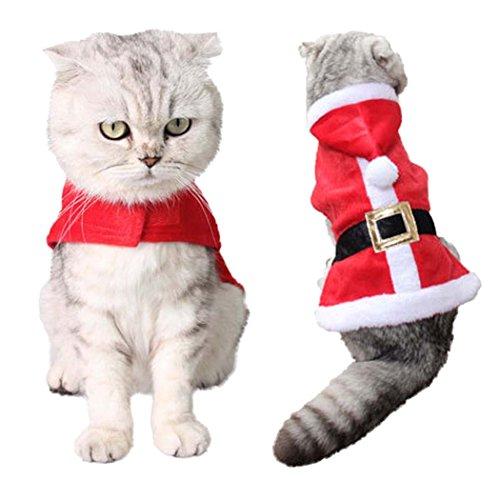 Legendog Katzen Kleidung, Weihnachten Haustier Kleidung, Weihnachten Katzen Kleidung, Katzenkostüm, Nette justierbare Weihnachtsmann Kleidung für Kätzchen, Haustier Hoodie Mantel für Katzen