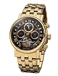 """Pionier - high quality automatic wrist watch Chicago """"Gold Black"""" stainless steel with stainless steel strap, two year warranty - 35 Jewels - Made in Germany"""