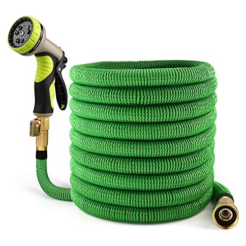 Lyhope 50ft Garden Hose, Expandable Water Hose with Double Latex Core - 3/4 Solid Brass Fittings - Heavy Duty Flexible Hose with 9-Modes Spray Nozzle (Green)