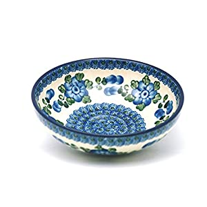 Polish Pottery Bowl – Contemporary Salad – Blue Poppy