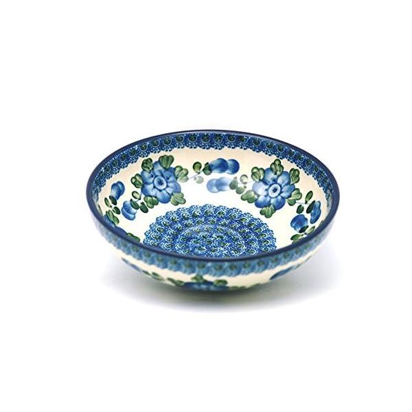 Polish Pottery Bowl – Contemporary Salad – Blue Poppy
