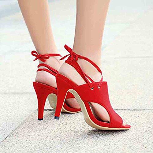 Easemax Womens Sexy Faux Suede Peep Toe High Stiletto Heel Self Tie Sandals Red 99xKANviB