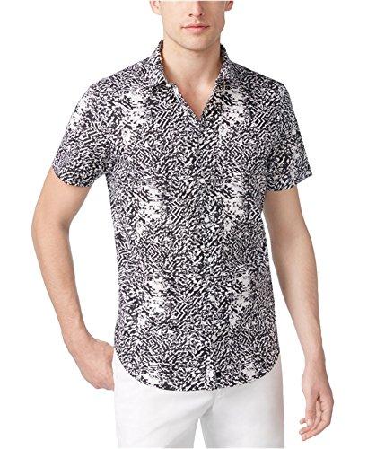 Calvin Klein Mens Fractured Button Up Shirt, White, Medium (Calvin Klein Print Pullover)