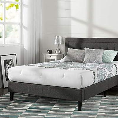 Cal King Zinus Dachelle Upholstered Button Tufted Premium Platform Bed Dark Grey