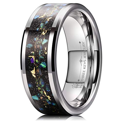 THREE KEYS JEWELRY 8mm Men's Tungsten Rings Silver Galaxry with Double Gold Orbit Opal Stone Black Sand Inlay Wedding Bands Size 12