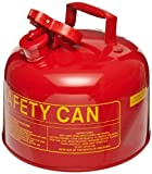 Eagle UI-25-S Type I Metal Safety Can, Flammables, 11-1/4'' Width x 10'' Depth, 2-1/2 Gallon Capacity, Red