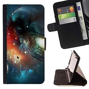 BullDog Case - FOR/Samsung Galaxy S5 Mini, SM-G800 / - / Planet Space Galaxy Art /- Monedero de cuero de la PU Llevar cubierta de la caja con el ID Credit Card Slots Flip funda de cuer