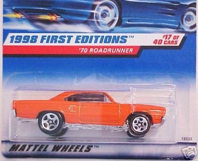 Roadrunner Car - Mattel Hot Wheels 1998 First Editions 1:64 Scale Orange 1970 Roadrunner Die Cast Car #017
