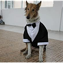 Large Dog Tuxedo Formal Clothes Big Dog Wedding Party Suit Shirt White Black for Golden Retriever Samos (L, Black)