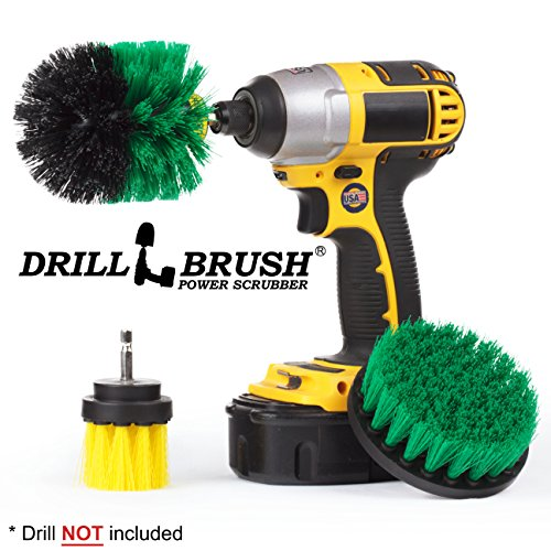 3 Cordless Power Scrub Brushes for Tile, Grout, Shower, Tub, Sink Mineral Stains by Drillbrush by Drillbrush
