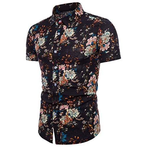(YJYDADA Men Summer Bohe Floral Short Sleeve Linen Basic T Shirt Blouse Top Plus Size)