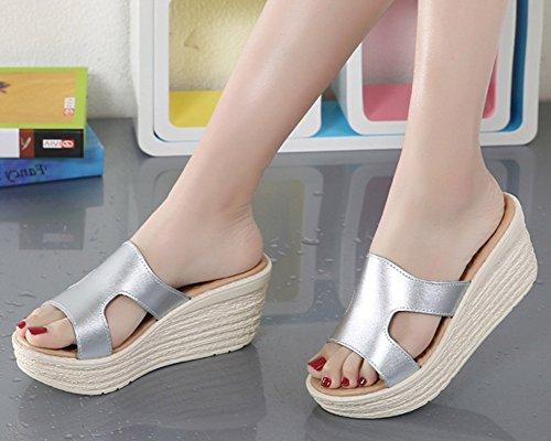 Sandales Chaussures Faux Pantoufles De Cuir Mules Flat Fond Slip Argenté Compensées on Femmes Épais Runyue Chausson Soft Été tqOwEqxB