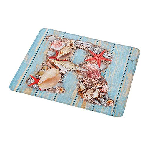 """Personalized Custom Gaming Mouse Pad Letter R,Tropical Animals in Alphabet Art Ocean Letter R Seashells Starfish,Pale Blue Ivory Dark Coral,Personalized Design Non-Slip Rubber Mouse pad 9.8""""x11.8""""inch"""