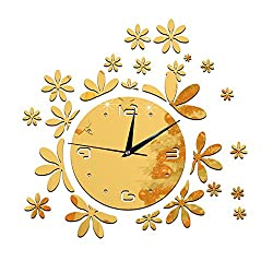 Happy Hours - Stylish Little Flower Wall Clock / Creative DIY Mirror Home Decor Watch / 3D Frameless Wall Sticker Design Bell for Cafe Bedroom Living Room Dormitory(Gold)