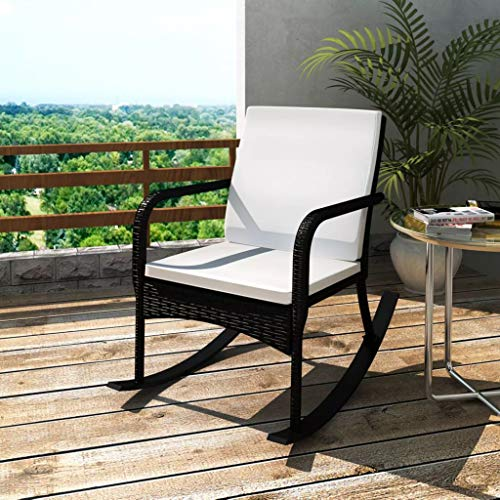 Tidyard Rocking Wicker Chair with Armrest Garden Outdoor Furniture Patio Backyard, Pool, Porch Gliding Rocker, Washable/Weather-Resistant Black for Living Room 25.2