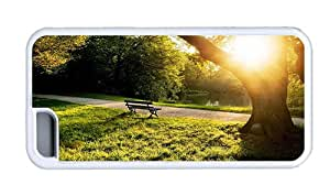 Hipster iPhone 5C customized covers city park bench sunset TPU White for Apple iPhone 5C
