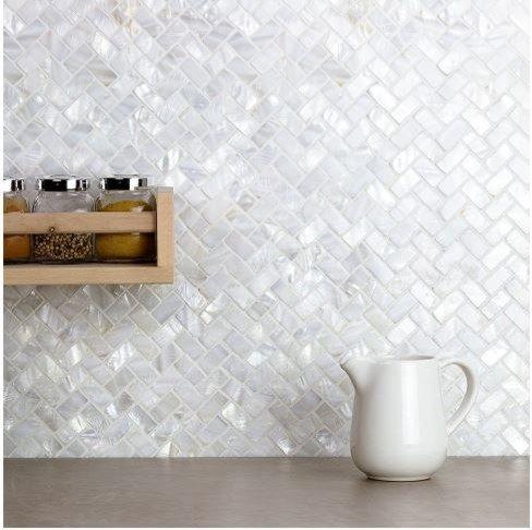 AFSJ Genuine White Herringbone Mother of Pearl Tile 12 Packs-Bathroom Kitchen Backspalsh by AFSJ (Image #7)