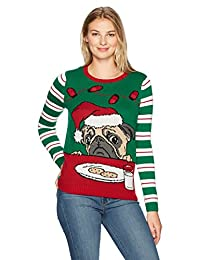 Ugly Christmas Sweater Womens Light Up - Pug W/Cookies Milk