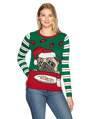 Ugly Christmas Sweater Women's Light Up-Pug W/Cookies and Milk