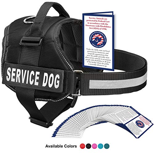 Industrial Puppy Service Dog Harness with Hook and Loop Straps and Handle | Available in 7 Sizes from XXS to XXL | Vest Features Reflective Patch and Comfortable Mesh Design
