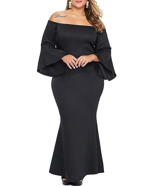 Lalagen Women\'s Plus Size Off Shoulder Bodycon Long Evening Party Dress Gown